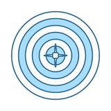 Target With Dart In Center Icon. Thin Line With Blue Fill Design. Vector Illustration royalty free illustration