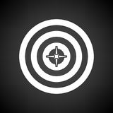 Target With Dart In Center Icon. White on Black Background. Vector Illustration stock illustration