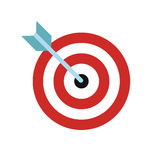 Target with dart flat icon. On white background Stock Photography