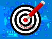 Target dart and pencil template design for business strategy. Shooting target market success solutions concept. Vector flat style illustration on blue Royalty Free Stock Photography