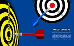 Target dart template for business goal. Shooting target market success solutions concept. Vector flat style illustration on blue background Stock Photography