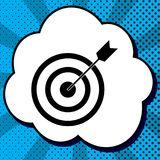 Target with dart. Vector. Black icon in bubble on blue pop-art b. Ackground with rays Stock Photos