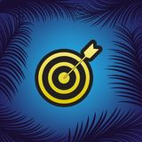 Target with dart. Vector. Golden icon with black contour at blue. Background with branches of palm trees stock illustration