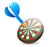 Target dartboard. Vector illustration of blue dart hitting in the center of  the target dartboard Royalty Free Stock Images