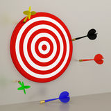 Target and Darts. 3D Target and Darts - Loser Stock Photo