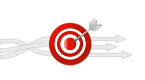 Target and darts and different destinations arrows. Over a white background stock illustration