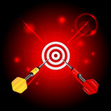 Target and darts. Darts on red glittering background.target and darts.neon effect Stock Photo