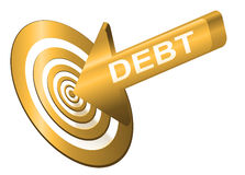 Target the debt. Illustrated debt concept depicting a red arrow with the word 'debt' hitting the bulls eye of a target board Royalty Free Stock Images