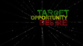Target, Desire, Opportunity as Concept Words. A motivational 3d rendering of such concept words as target, desire and opportunity. They are green, purple and Royalty Free Stock Images
