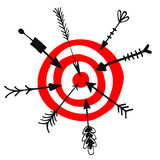 Target and different arrows doodle vector illustration Stock Photo