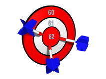 Target with different retirement numbers. And three french darts in the centre royalty free stock images