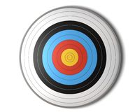Target face view. Face view of an archery target over a white background with shadow Stock Photos