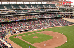 Target Field. MINNEAPOLIS - MARCH 27:  The University of Minnesota plays Louisiana Tech, in the first baseball game ever played at Target Field, new home to the Royalty Free Stock Photo