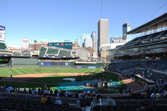 Target Field. View of Target Field during batting practice before Major League Baseball game between the Colorado Rockies and the Minnesota Twins on June 15 Stock Photo