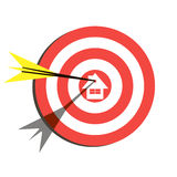 Target Flat Icon Design. Aim with House. In the Center Royalty Free Stock Photo