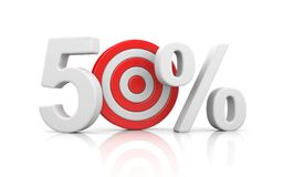 Target form the number 50 percent. Sale metaphors. 3d illustration Royalty Free Stock Image