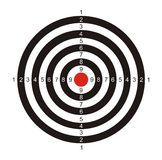 Target for game in a darts. The illustration representing the drawn black-and-white target with the red center for game in a darts on a white background Royalty Free Stock Image