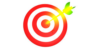 Target and a glowing golden arrows on white background, 3D illustration Royalty Free Stock Photos