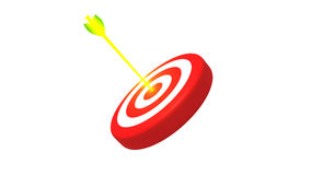 Target and a glowing golden arrows on white background, 3D illustration Stock Photo
