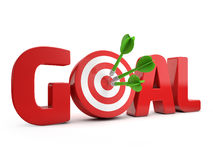 Target goal. Red goal text and dart hitting a target white background royalty free illustration