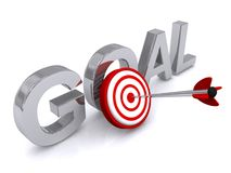 Target goal sign. 3d illustration of a goal sign with an arrow in the center of a target, business concept on white background Stock Images