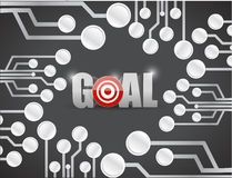 Target goals circuit boards illustration design Stock Photography