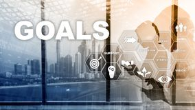 Target Goals Expectations Achievement Graphic Concept. Business development to success and growing growth.  stock illustration