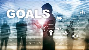 Target Goals Expectations Achievement Graphic Concept. Business development to success and growing stock photo
