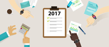 Target goals task list check new year resolution business personal meetings team company corporate marketing. 2017 target goals task list check new year Royalty Free Stock Photography