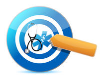 Target good health concept with a Stethoscope Royalty Free Stock Images