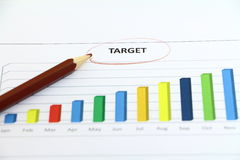 target and graph color Stock Photo