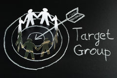 Target Group On Blackboard Stock Photos