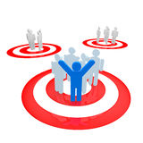 Target group. People stand on red circles Royalty Free Stock Images