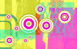 Target grunge. A grunge styled background in dayglo colours with circular target graphics Royalty Free Stock Photos