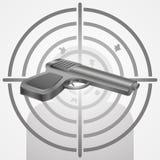 Target with gun vector shooting range illustration. Target with gun vector shooting range concept illustration Stock Photos