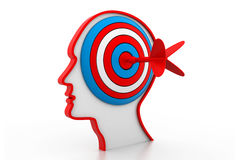 Target on head. 3d illustration of Target on head Stock Photography