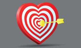 Target heart with golden Amur arrow Royalty Free Stock Photos