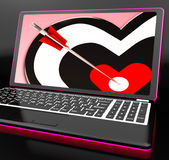 Target Heart On Laptop Shows Affection Royalty Free Stock Images