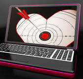 Target Heart On Laptop Shows Flirting Stock Photos