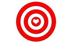 A target with a heart in the middle. Dead center Royalty Free Stock Image