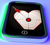 Target Heart On Smartphone Showing Love Shot Stock Photo