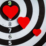Target with hearts bullseye as love background Stock Image