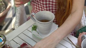 TARGET264_0_ herbaty dwa kobiety Kobiety dolewania woda w filiżankę zbiory wideo