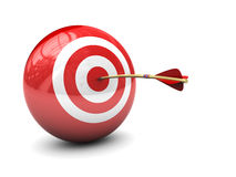 Target hit. Abstract 3d illustration of arrow in target Royalty Free Stock Image
