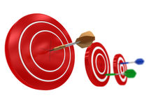 Target Hit. Golden Dart hitting the Target Royalty Free Stock Photo