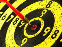 Target hit. A black and yellow target with a dard on the centertarget with Royalty Free Stock Photography