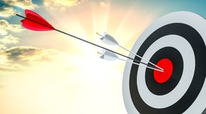 Target hit in center by arrows Royalty Free Stock Image