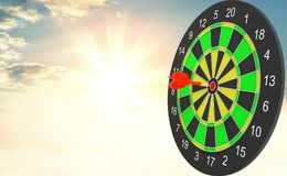 Target hit in center by arrows. 3d illustration. Sunrise on background Stock Image