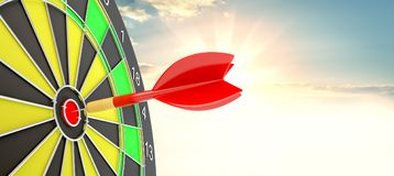 Target hit in center by arrows. 3d illustration. Sunrise on background Royalty Free Stock Photo