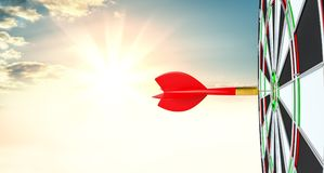 Target hit in center by arrows. 3d illustration. Sunrise on background Royalty Free Stock Photography